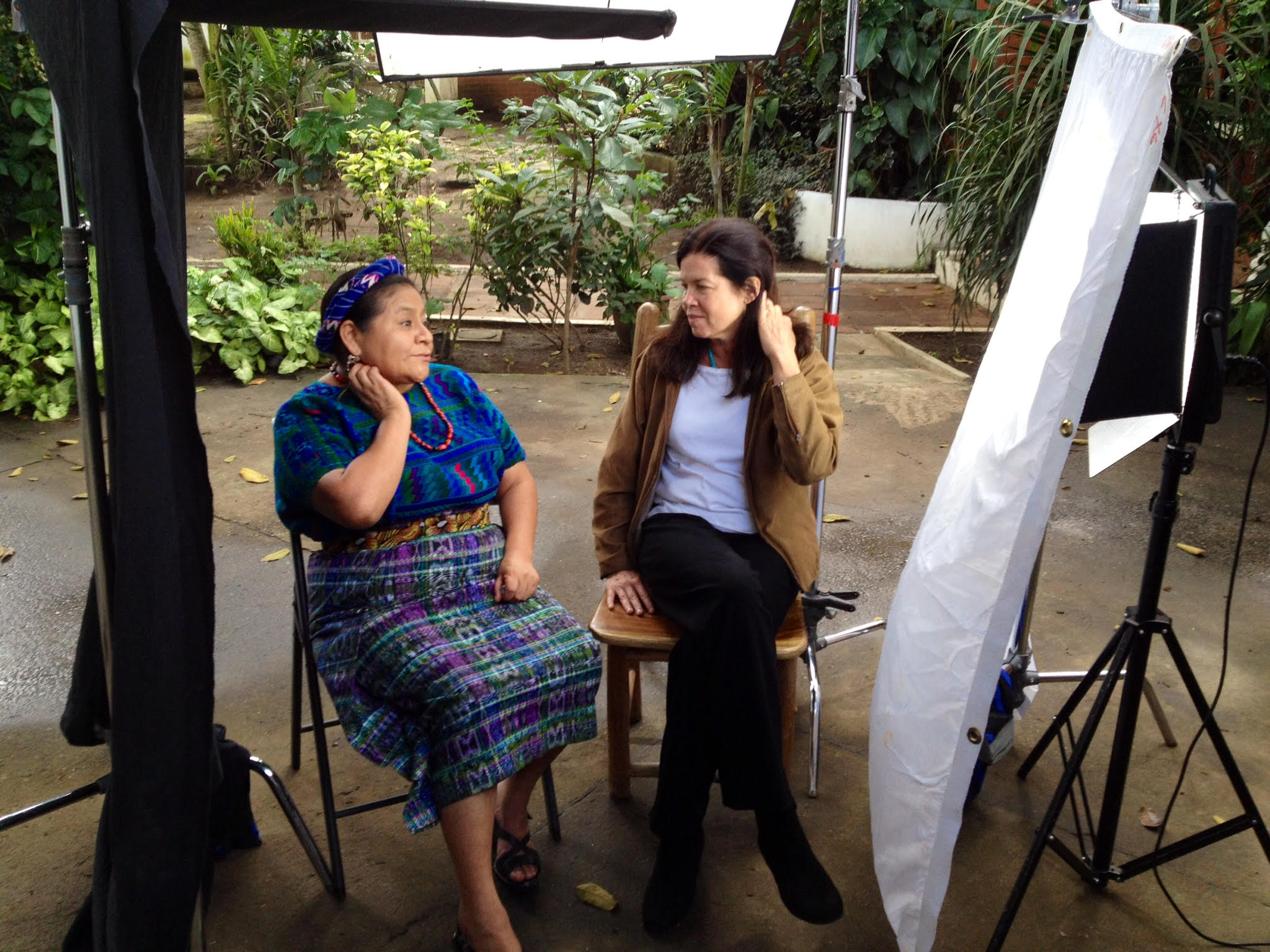Nobel Laureate Rigoberta Menchú and Pamela Yates filming in Guatemala in 2013. Photo by Melle van Essen / skylight.is.