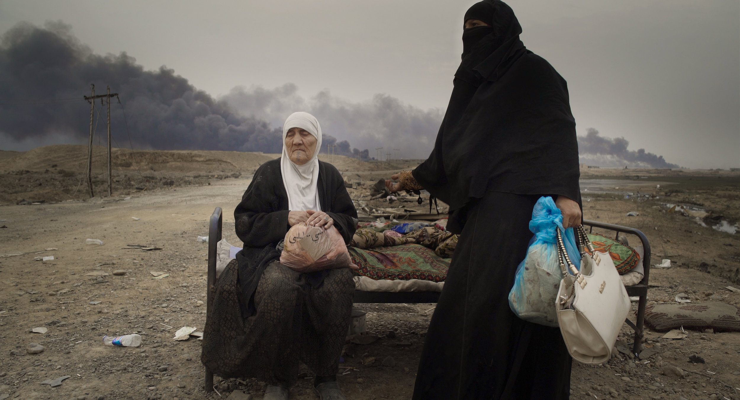 Two women pictured in Mosul, Iraq in  Human Flow.