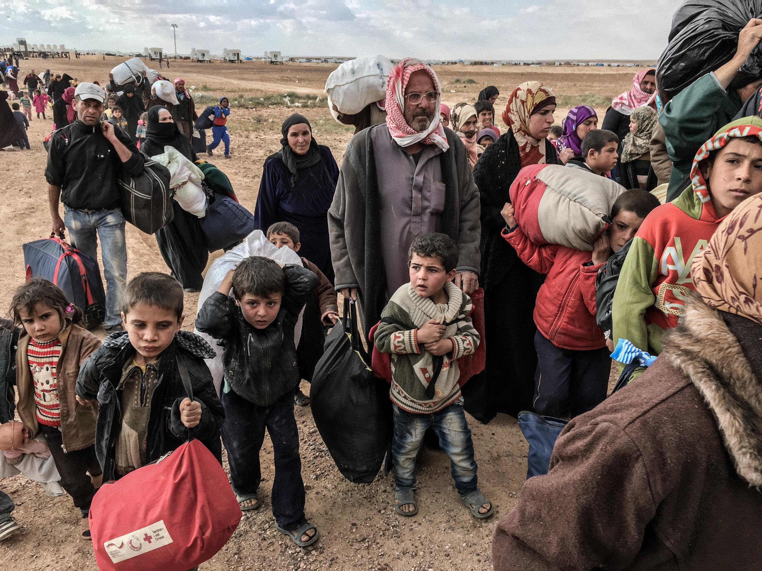 Refugees at the Jordan-Syria border in  Human Flow.