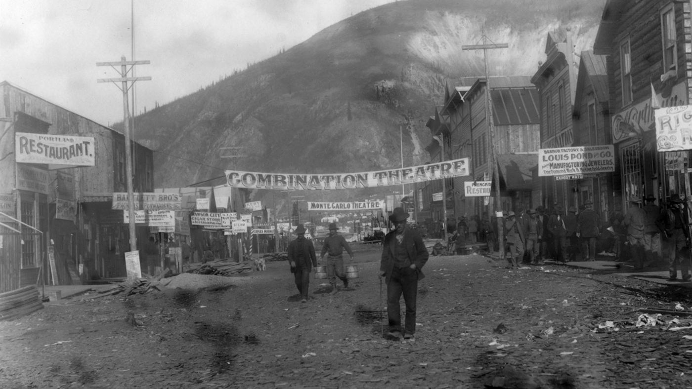 Downtown Dawson City, open for business, during its Gold Rush heyday.