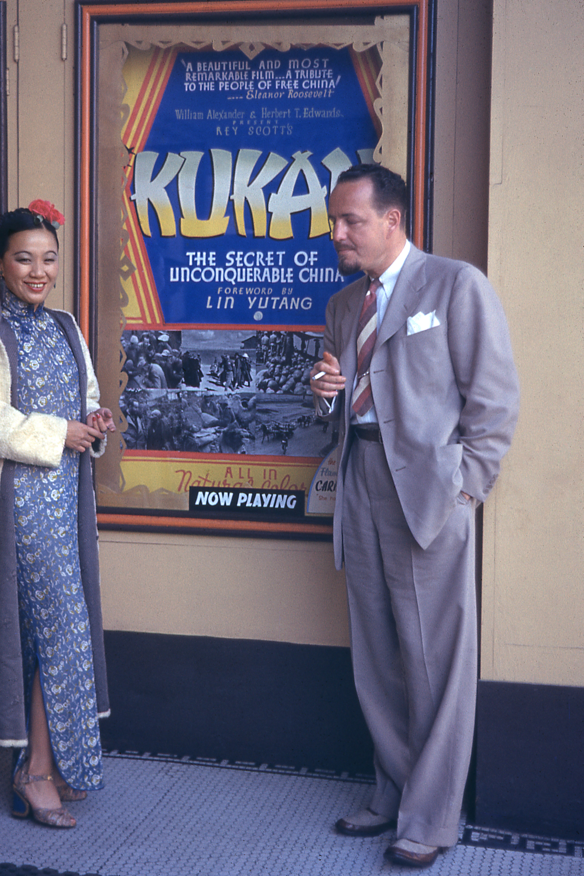 Li Ling-Ai and Rey Scott in front of the Clay Theater in San Francisco for the premiere of  Kukan , 1941.