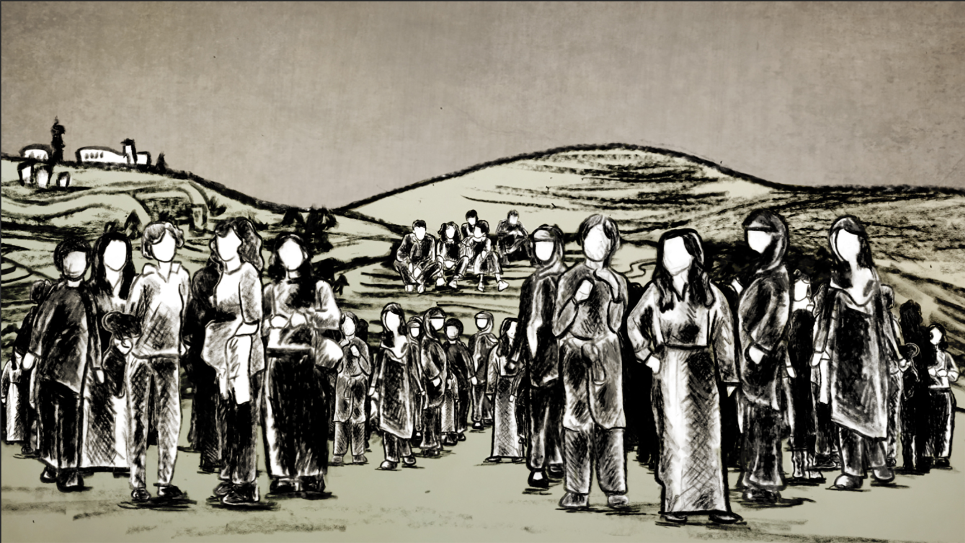 The solidarity of Palestinian women is represented by direct under-camera animation in  Naila and the Uprising.