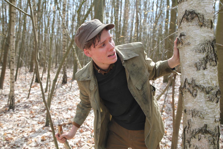 Volker (Til Schindler), the captive male revolutionary in  The Misandrists.