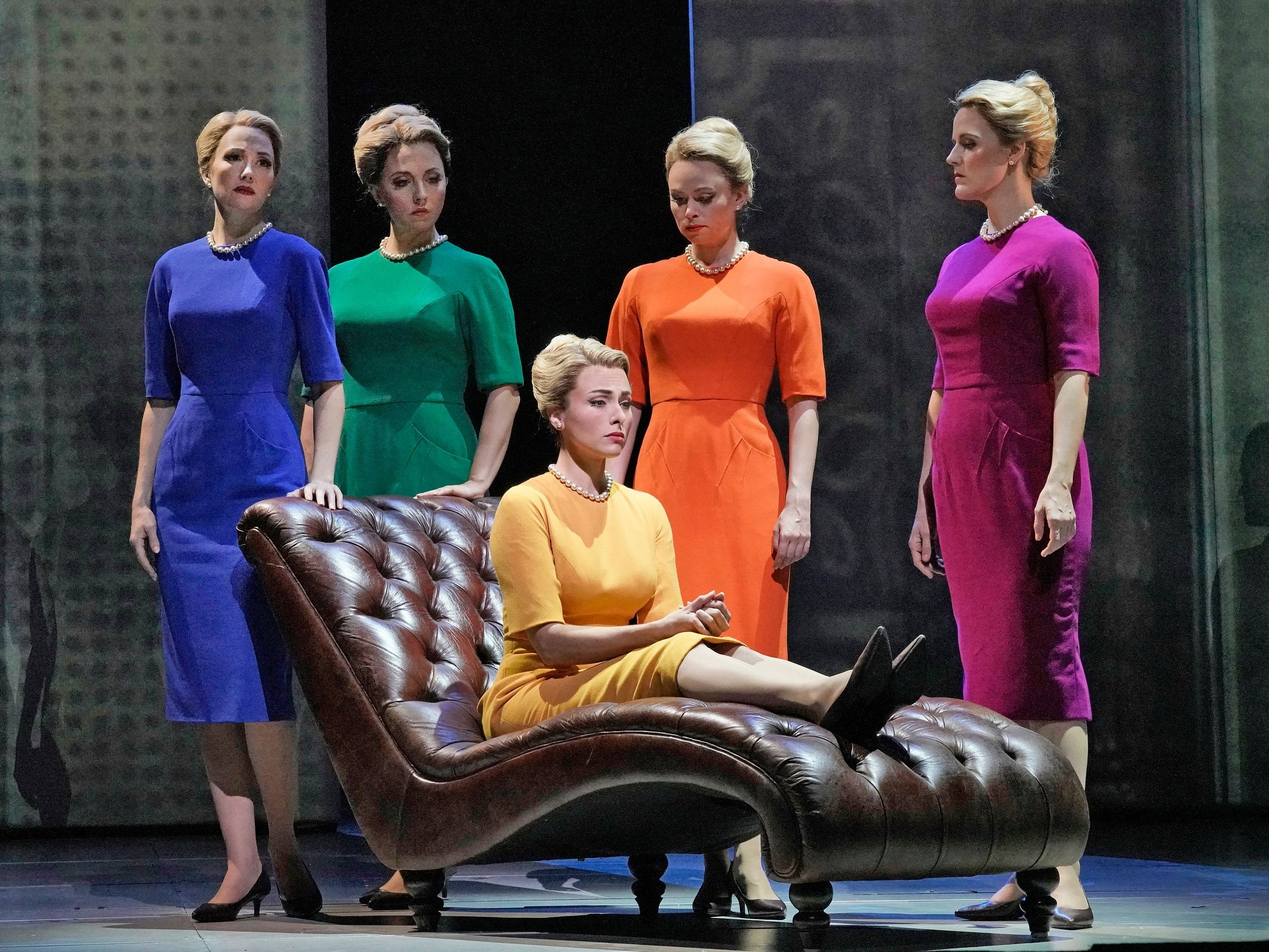 "Marnie (Isabel Leonard) and her ""shadows"" in the Metropolitan Opera's production of Nico Muhly's  Marnie ."