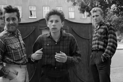 Roman Polanski (center) acts as a street tough in his own short, Two Men and a Wardrobe.