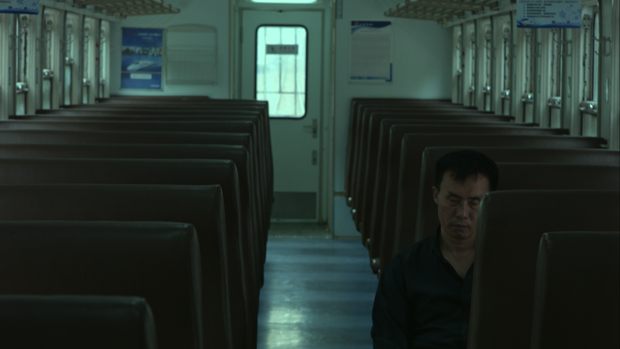 Dreamer on an empty train.