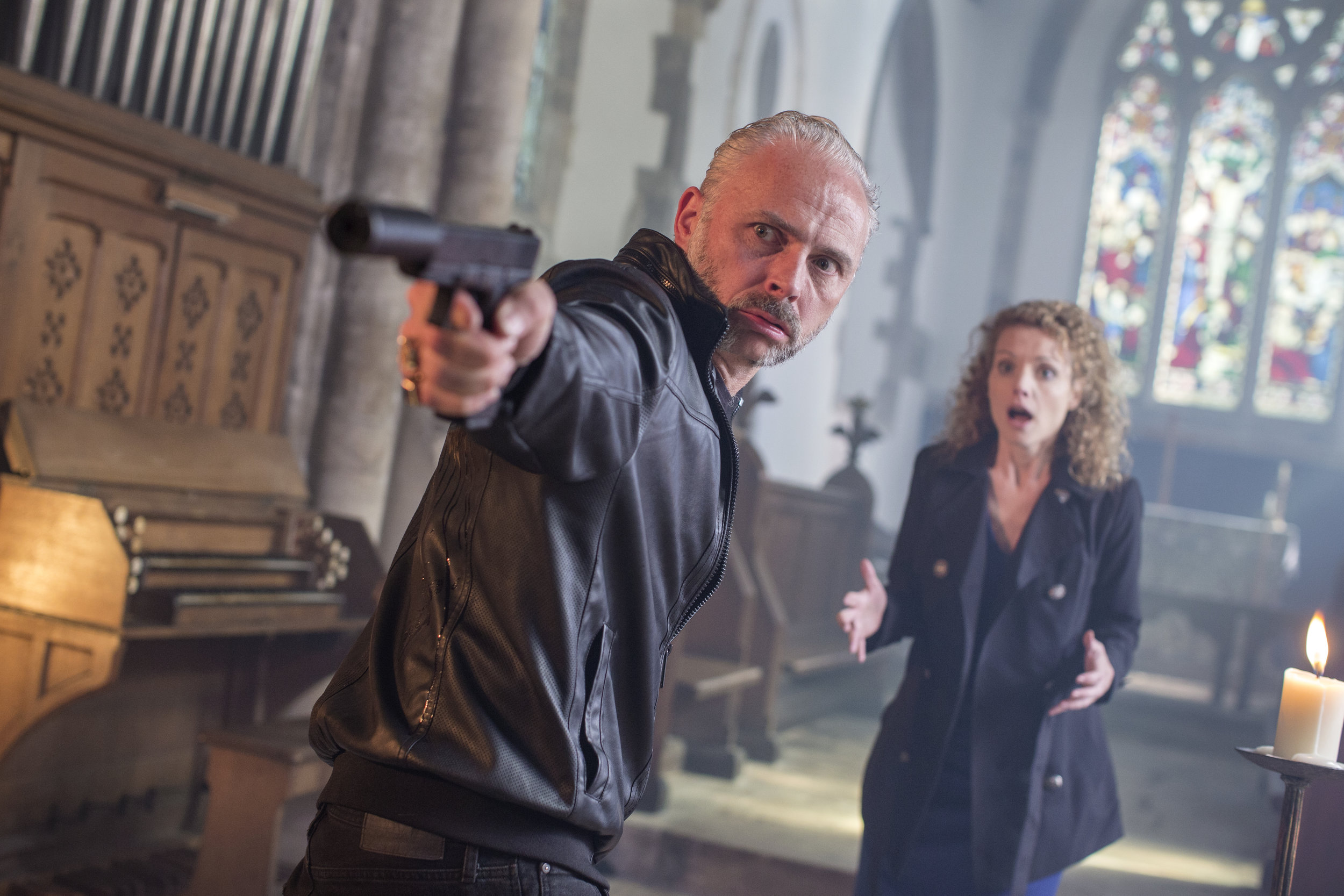 Mark Bonnar and Lisa Brenner in  Say My Name .