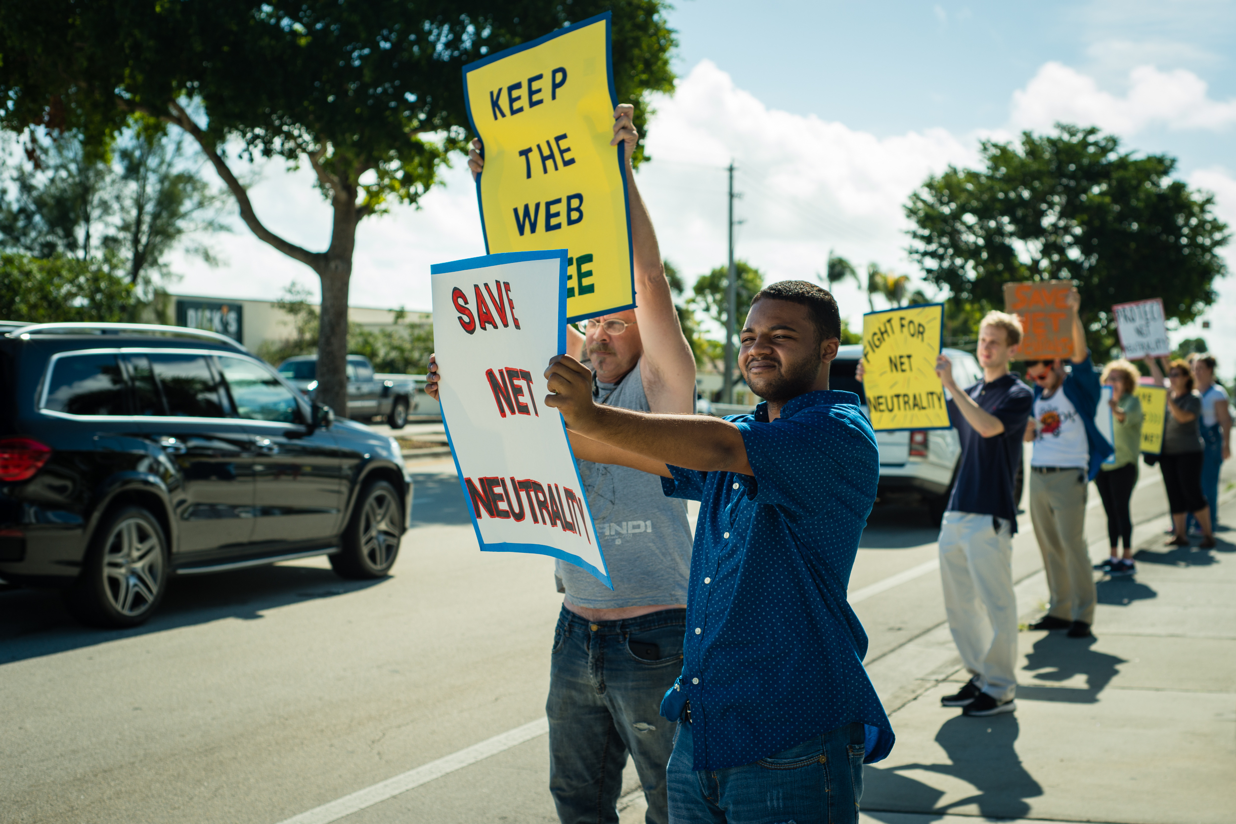 Activists with Team Internet protest to save net neutrality