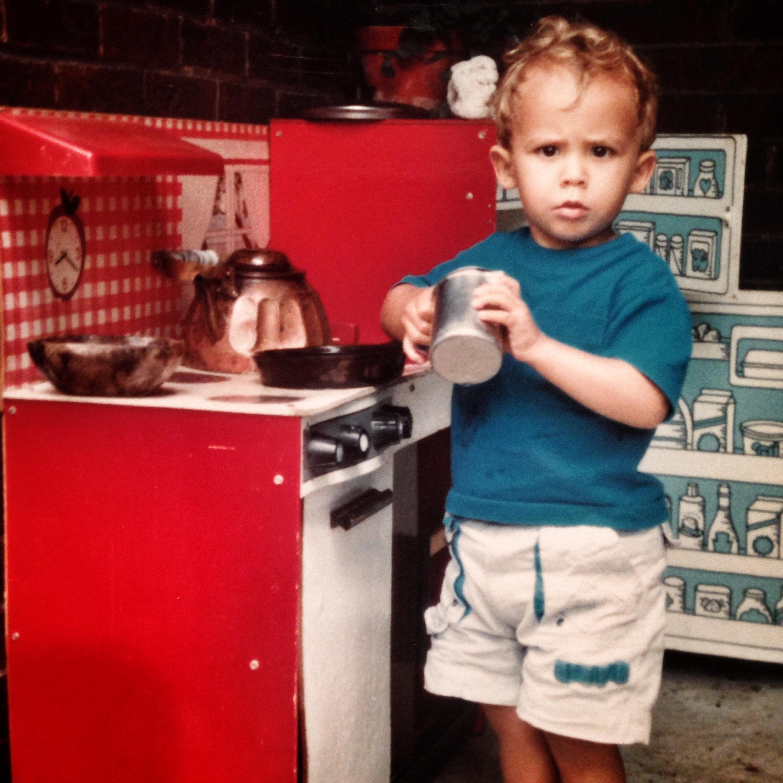 Honing my skills at age three!