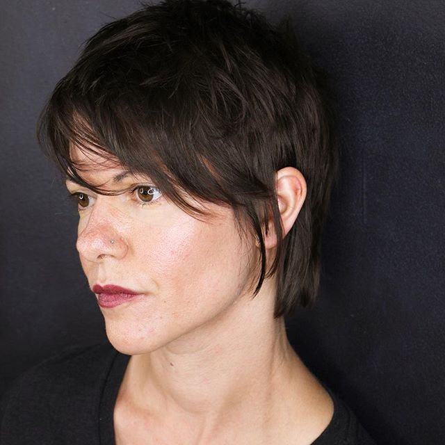 Keep your pixie soft with a few wisps by the face.