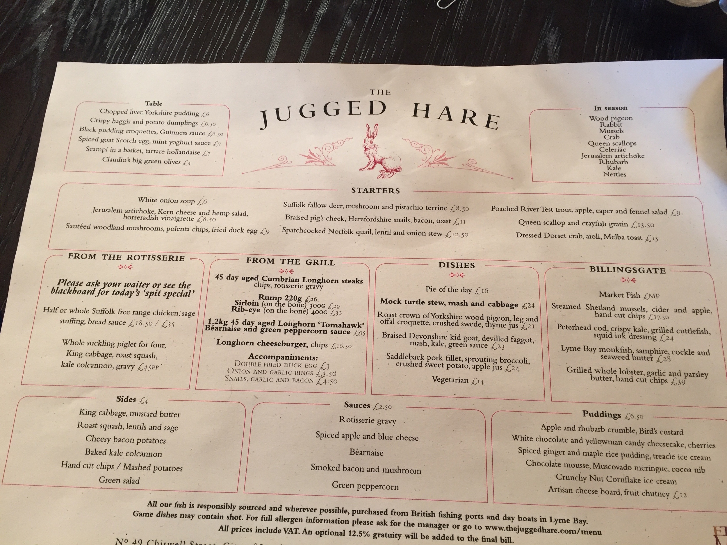 The Jugged Hare menu