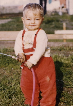 dave at age 3, already covered in mud