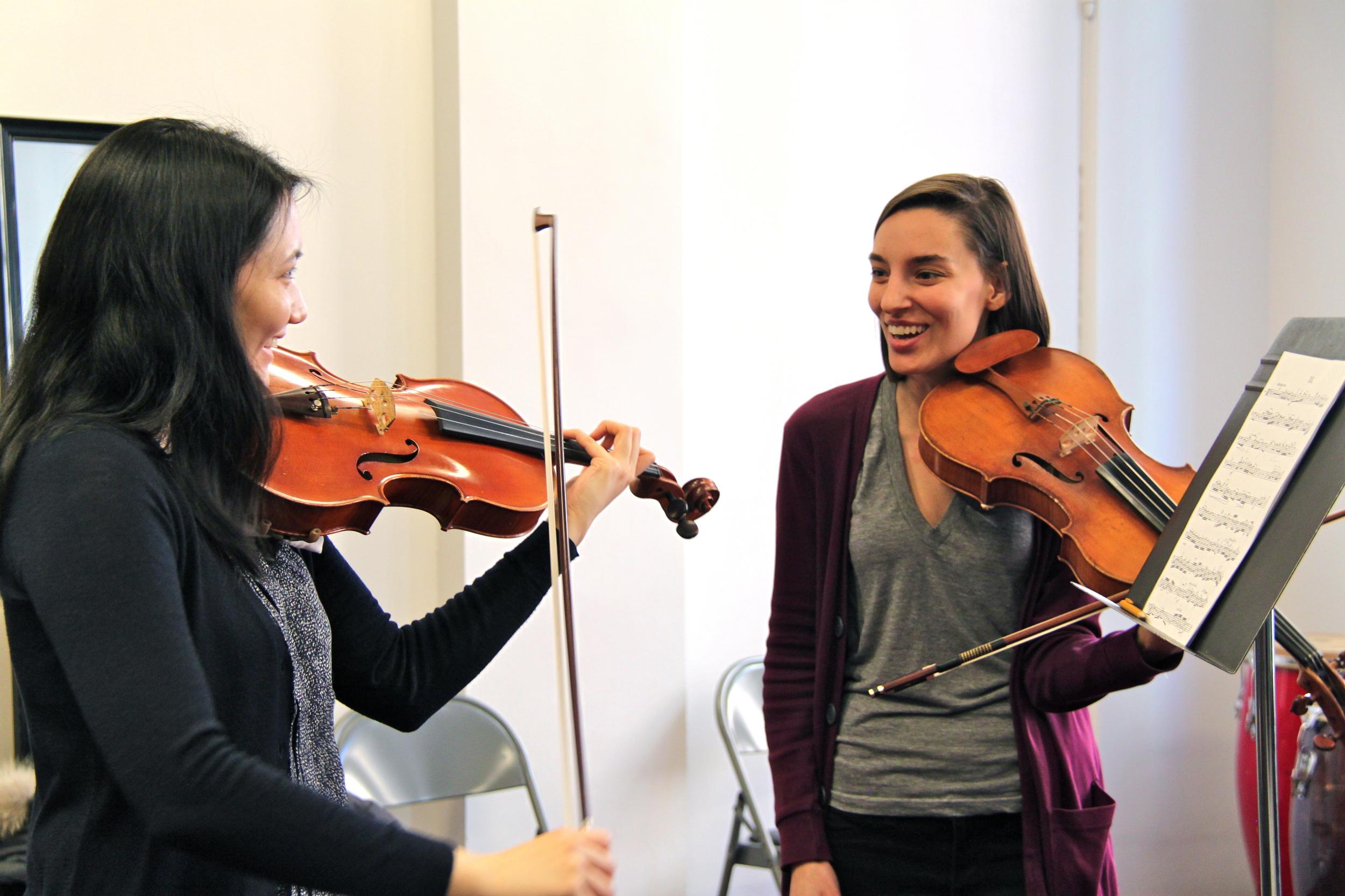 Teacher Nora Krohn in a viola or violin lesson at the Sunnyside, Queens New York String Studio