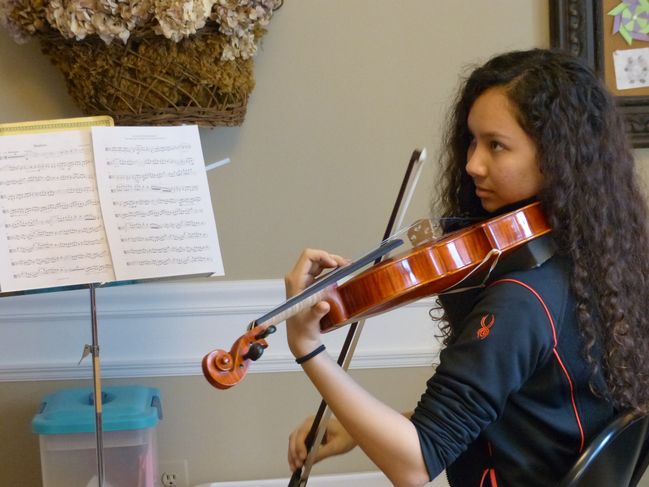 Student in viola or violin lesson at the Sunnyside, Queens New York String Studio