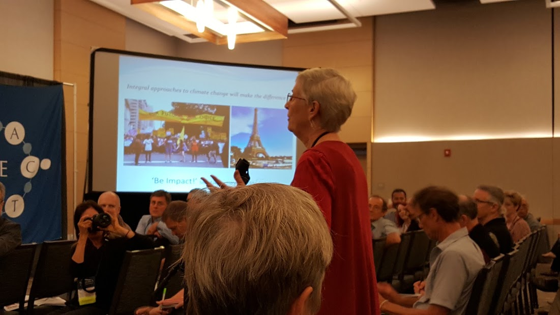 Marilyn Hamilton making a connection with Karen O'Brien's keynote and the Pope's ecological encyclical, Laudato SI .