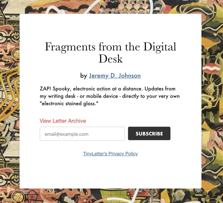 "Get Inbox Updates - Fragments from the ""digital desk."""