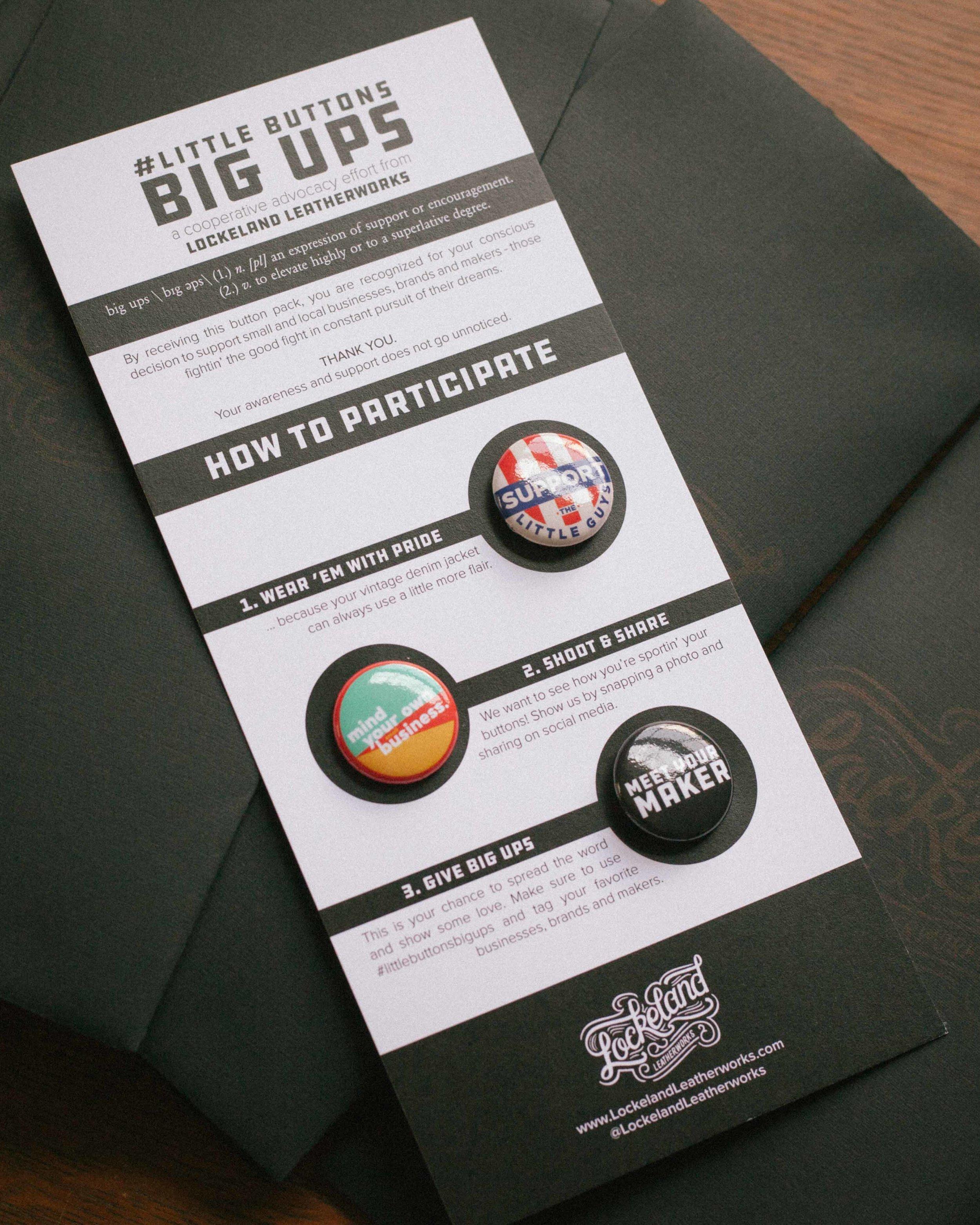 Little Buttons. Big Ups. Card