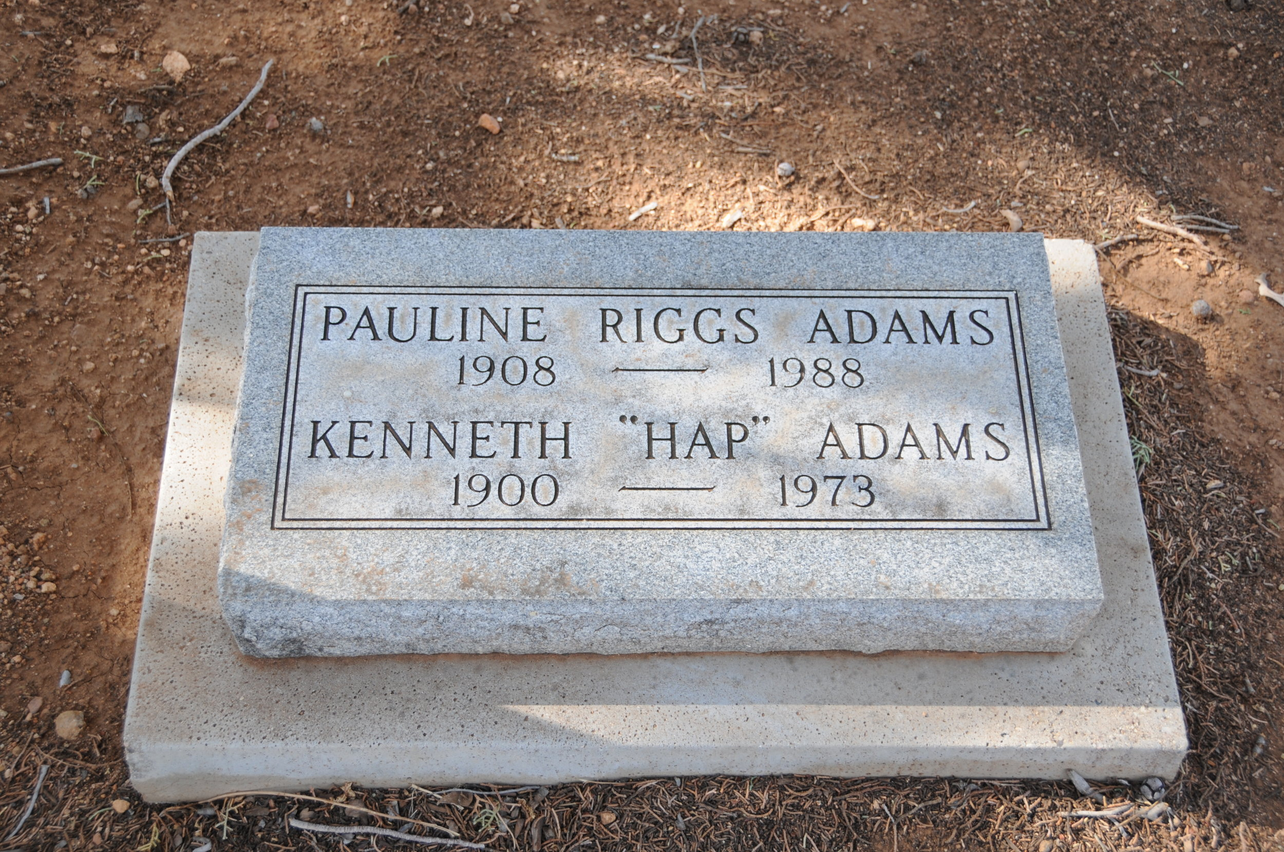 "4a PAULINE (RIGGS) & KENNETH ""HAP"" ADAMS"