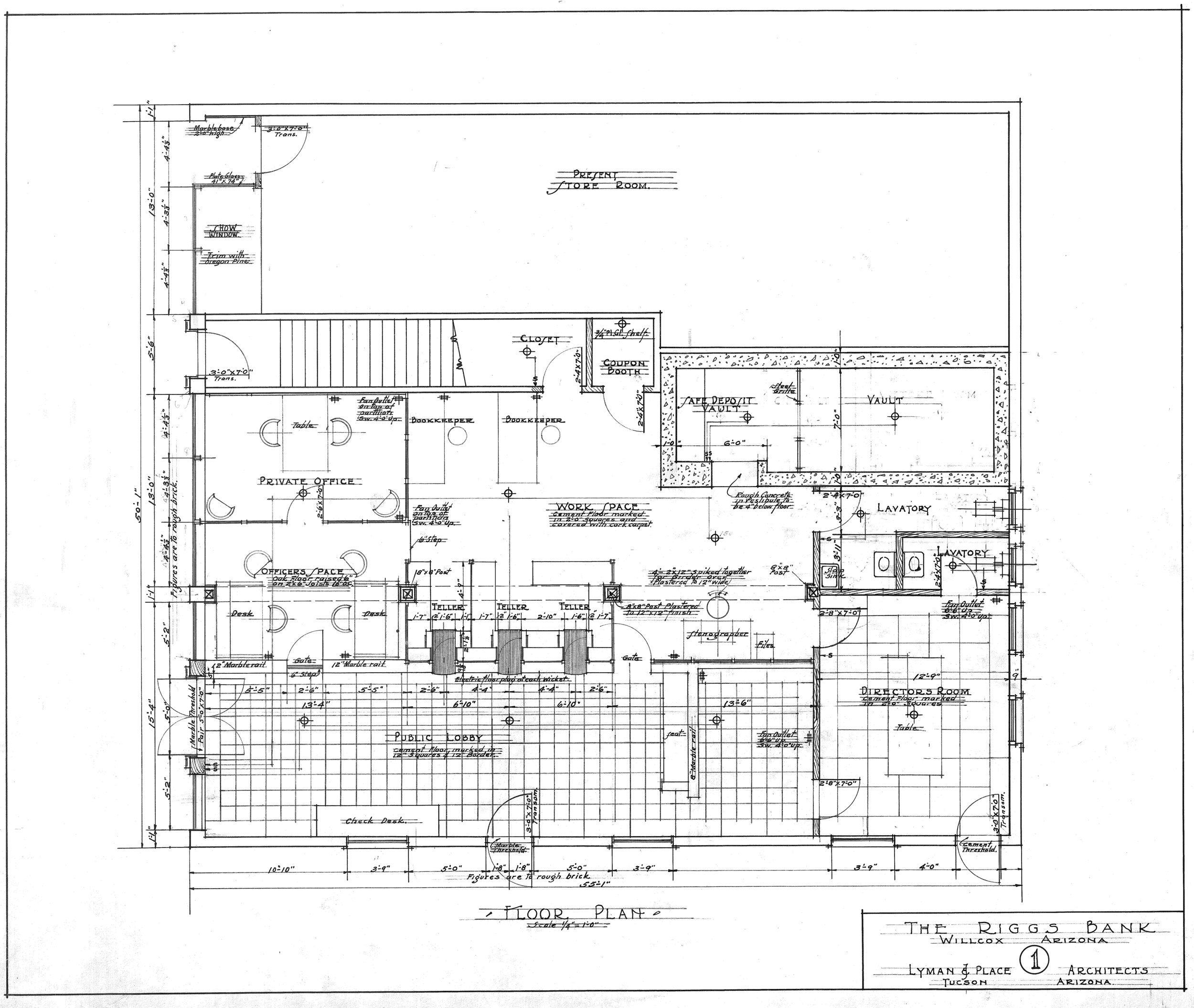 RIGGS BANK BUILDING DRAWING OF THE FLOOR PLAN