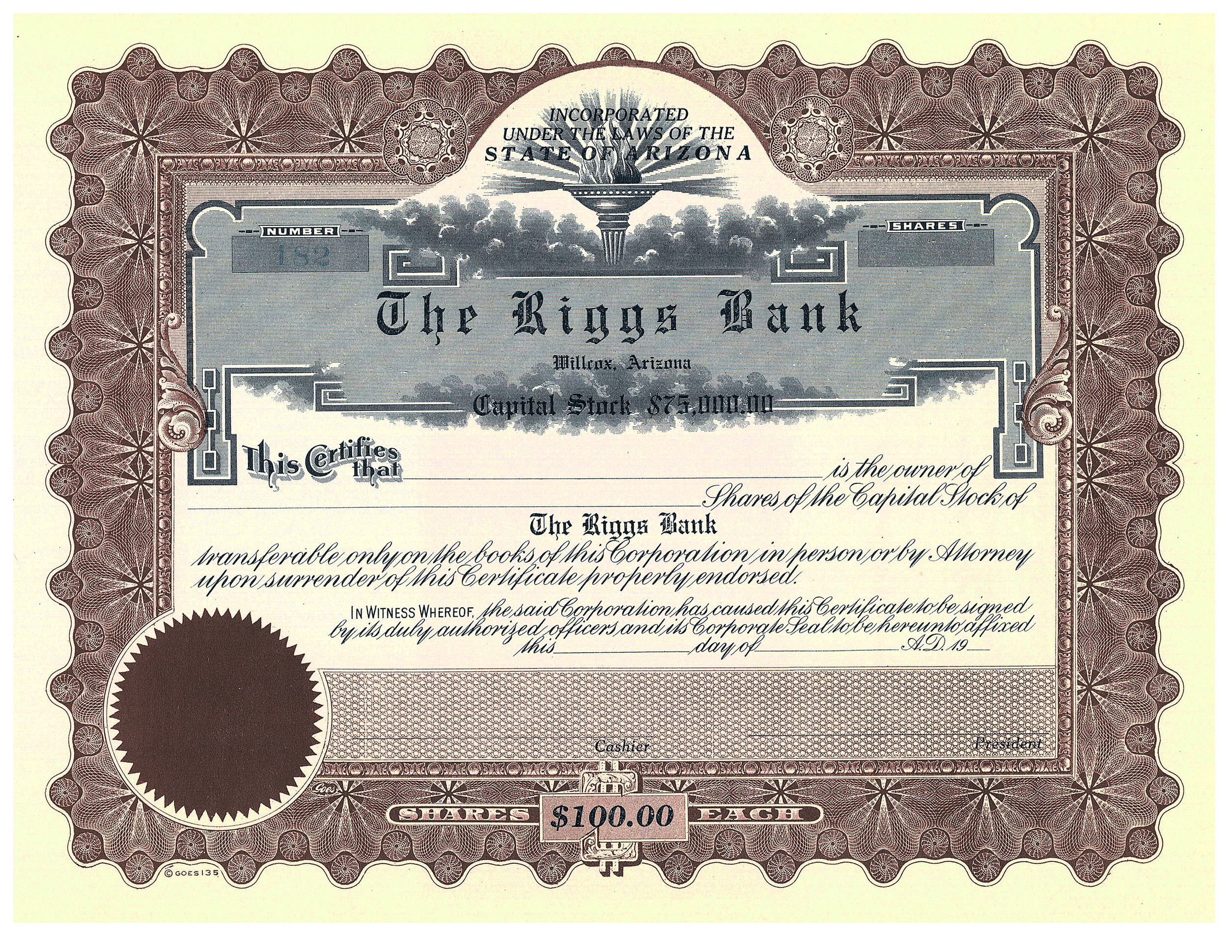 RIGGS BANK STOCK CERTIFICATE NUMBER 182   FRONT