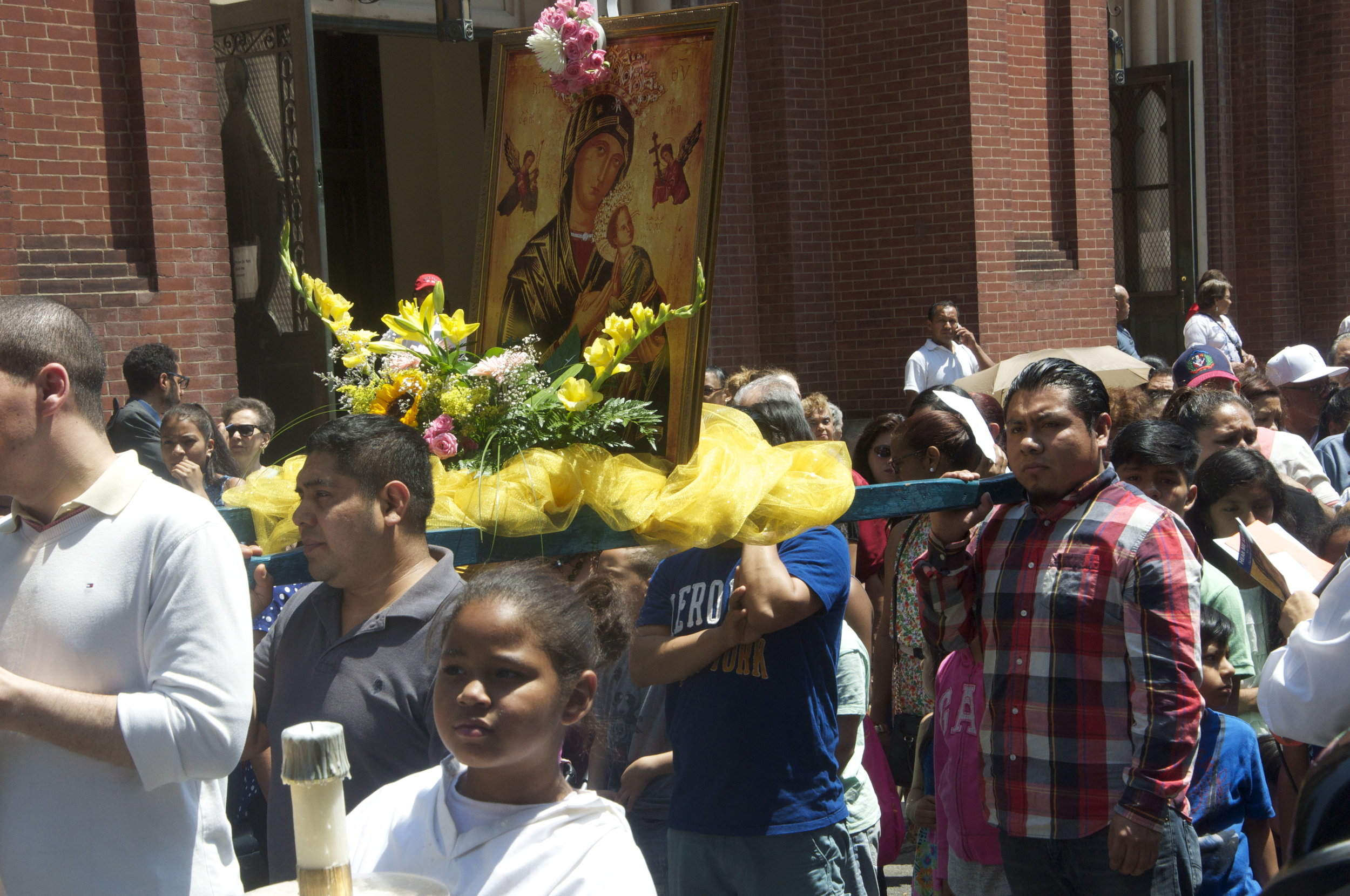 By Samali Bikangaga. Parishioners march on Courtlandt Avenue on June 26.     Parishioners fed up with high crime,NYCHA inaction, march for change