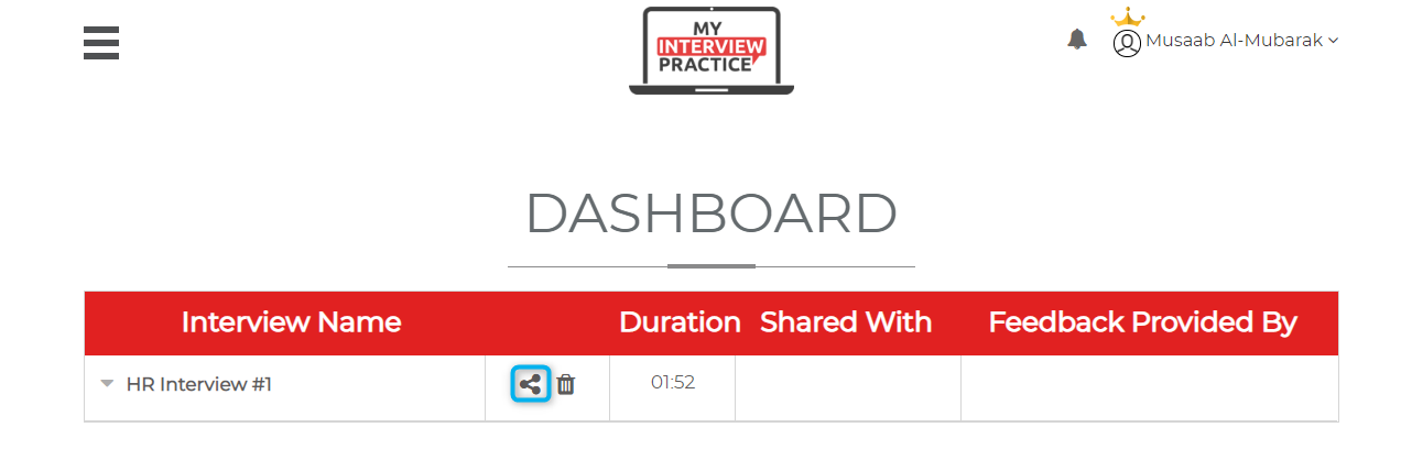 """- Step 9: To share your interview you can click the share button. Then you can go to the """"Share Within Your Organization"""" section and use the """"Select A Colleague"""" drop down to select an administrator. Then hit the """"Share"""" button and an administrator will provide feedback to you."""