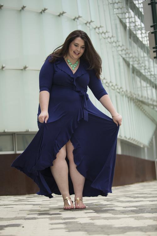 NAVY BLUE RUFFLED MAXI DRESS — The Curvy Curator
