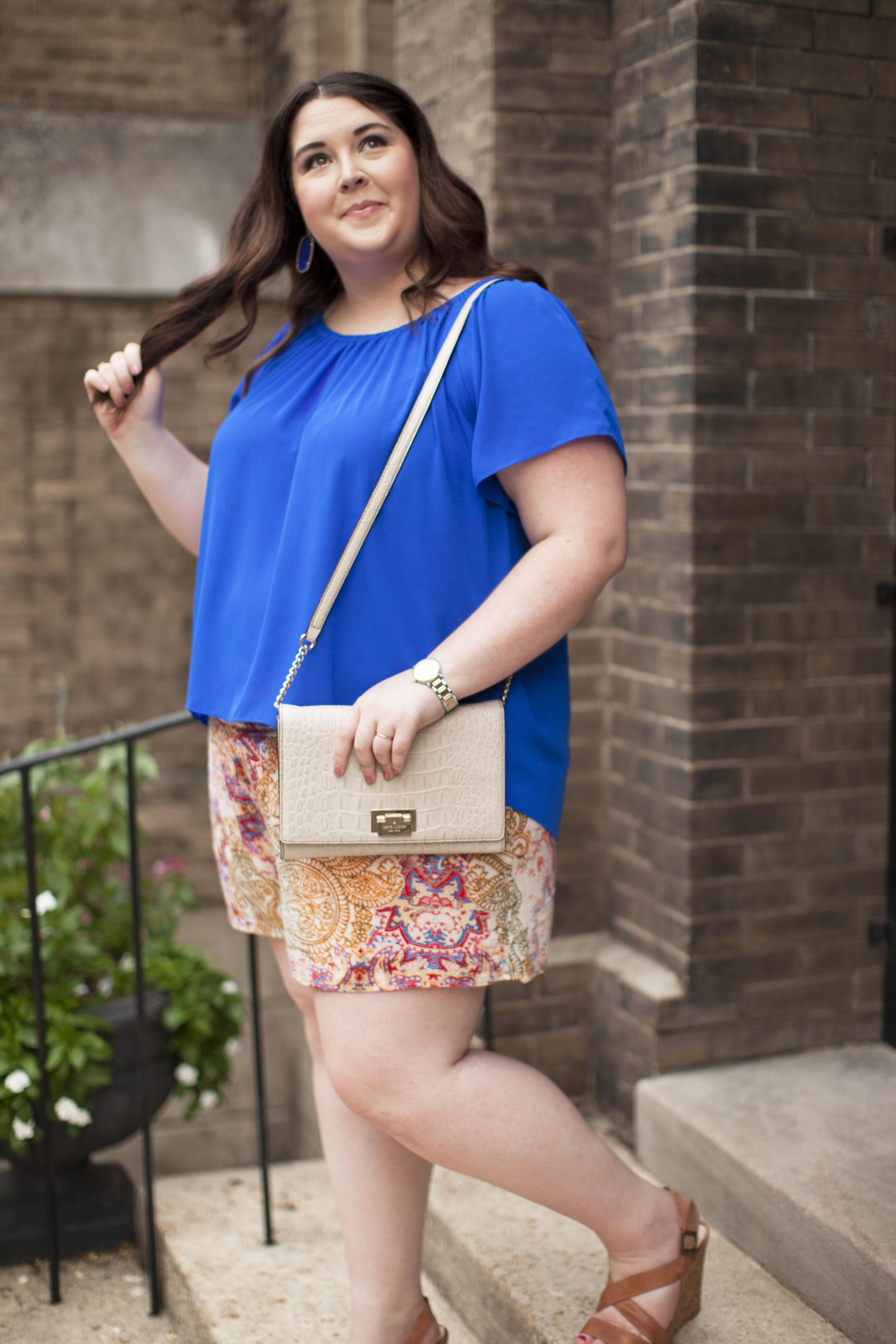 plus size street style royal blue top plus size linen shorts 010.jpg