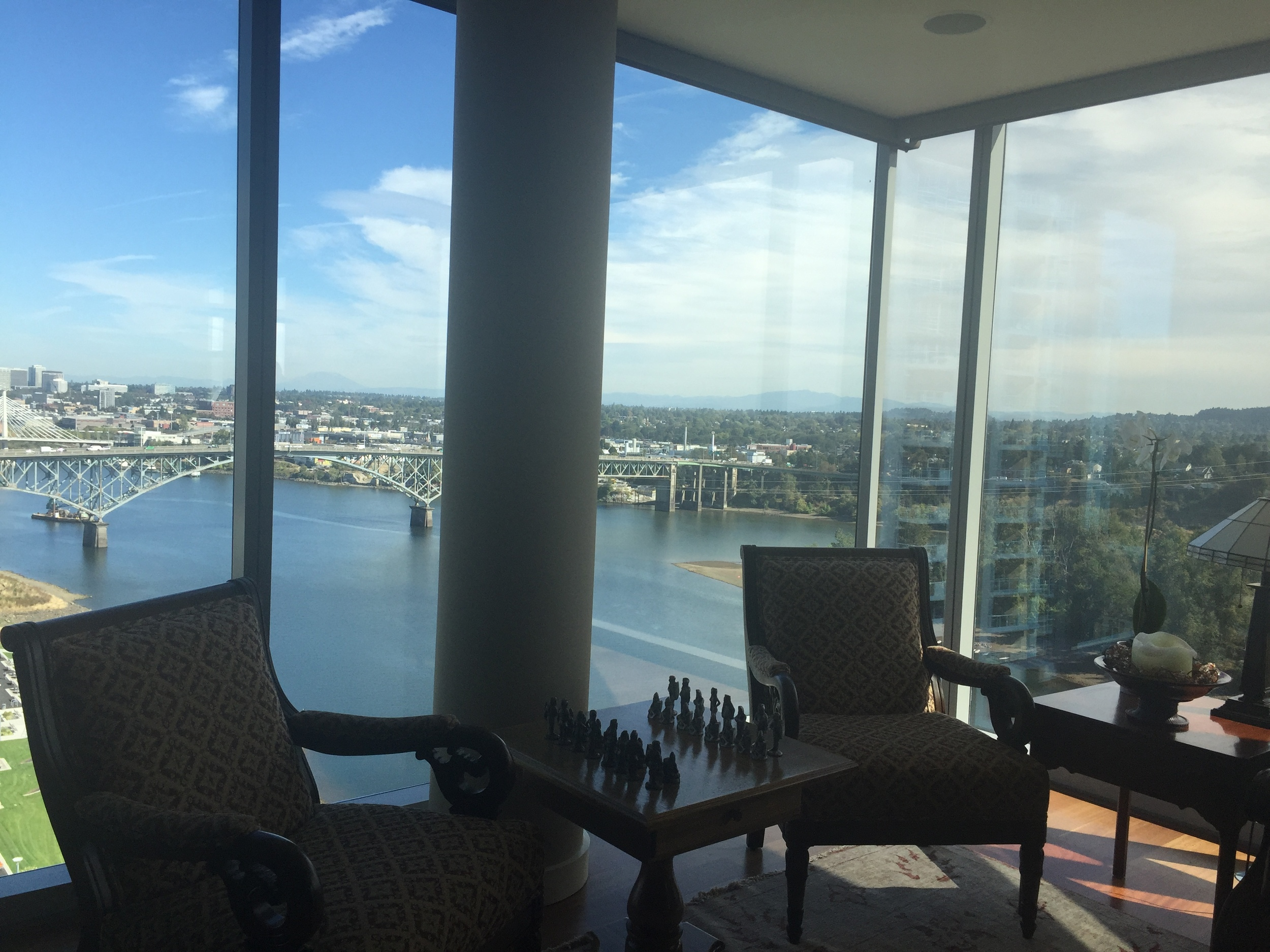 Another incredible view, this time on the South Waterfront. This 17th floor condo was right off the river and had entire walls of windows overlooking the city.