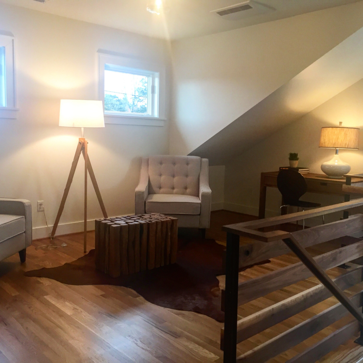 A gorgeous sitting room tucked away at the top of the stairs. This was in a brand new home in NE Portland that was done perfectly- it had all of the modern touches and high-end finishes of a brand new home but blended seamlessly with the older homes on the street, retaining the character and charm of the neighborhood.