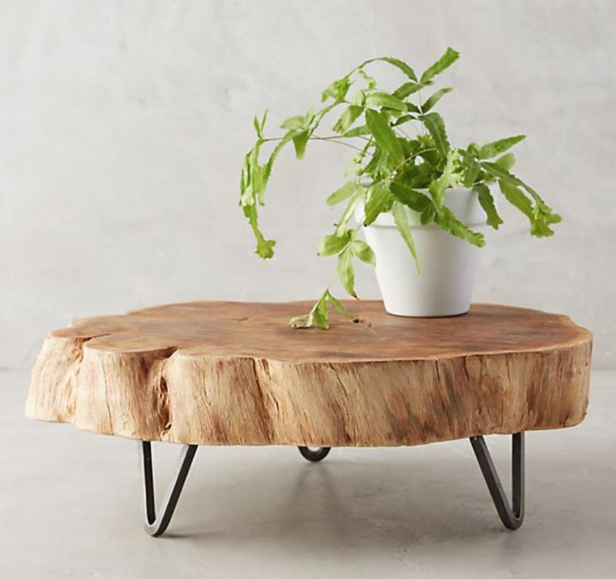 Footed Wood Slab Tray - $128