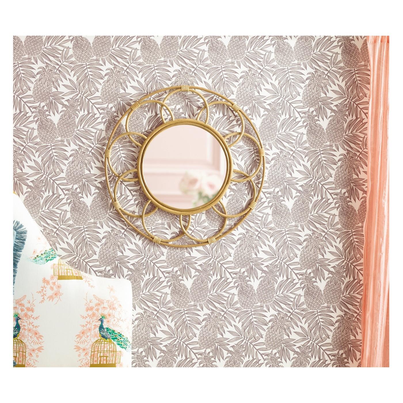 Round Rattan Mirror with Scalloped Border - $47.49