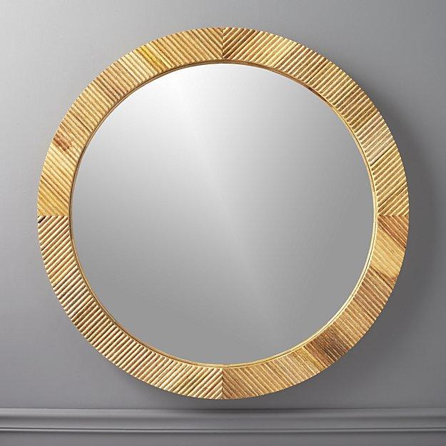Darron Round Wood Mirror - $349