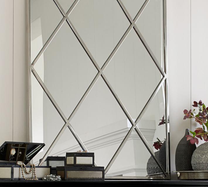 Isabelle Silver Diamond Mirror - $319