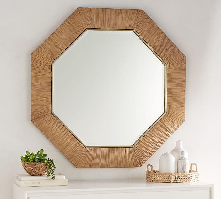 Sarah Bartholomew Octagonal Rattan Mirror - $399