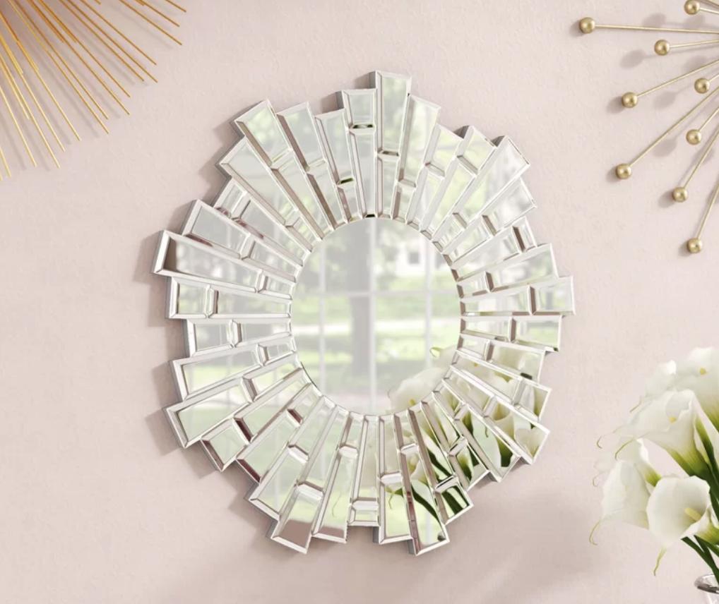 Naoma Modern Sunburst Glass Wall Mirror - $199.99
