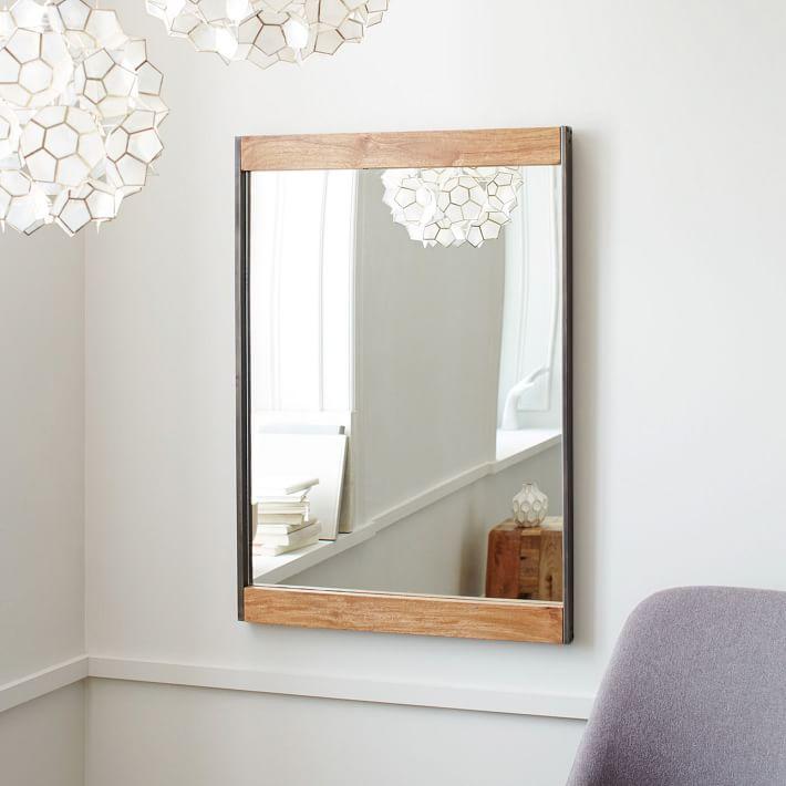 Industrial Metal + Wood Wall Mirror - $299