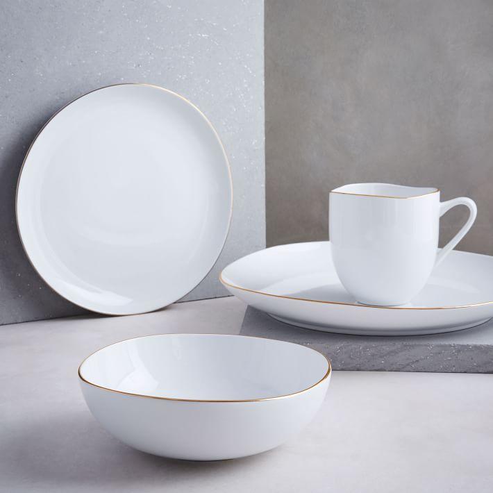 Metallic Rimmed Organic Dinnerware Set - West Elm