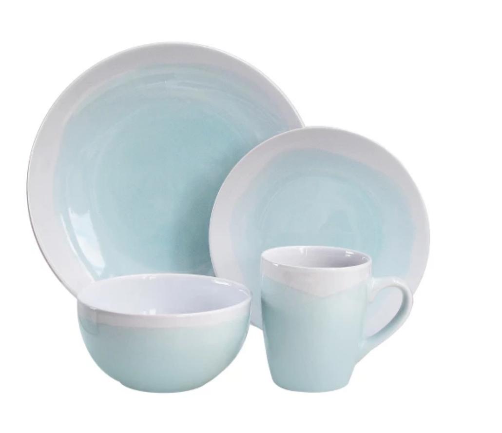 White & Mint Stoneware Dinnerware Set - Target