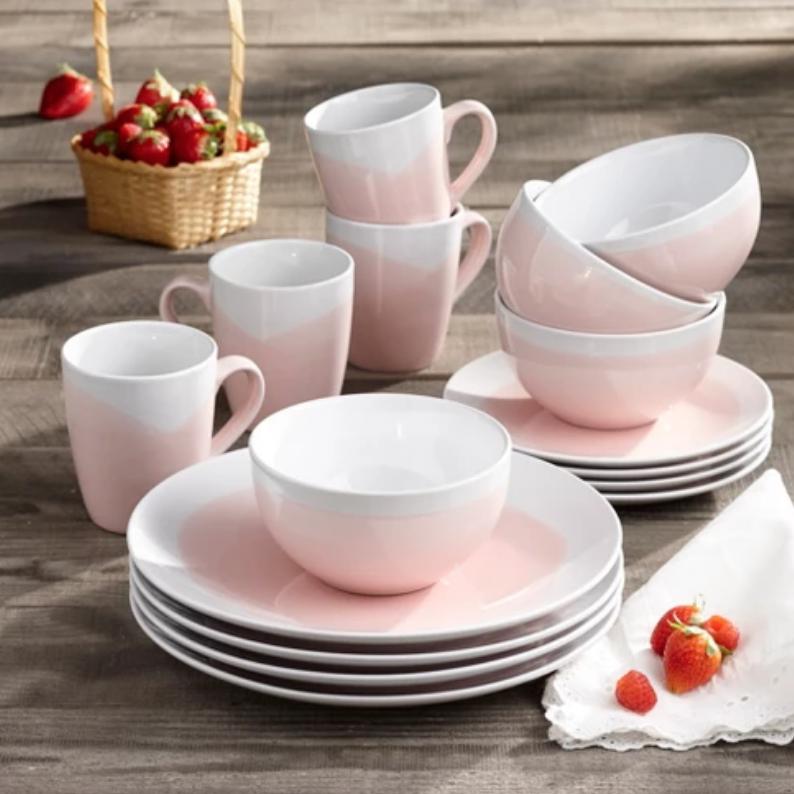 Pink & White Oasis Stoneware Dinnerware Set - Target