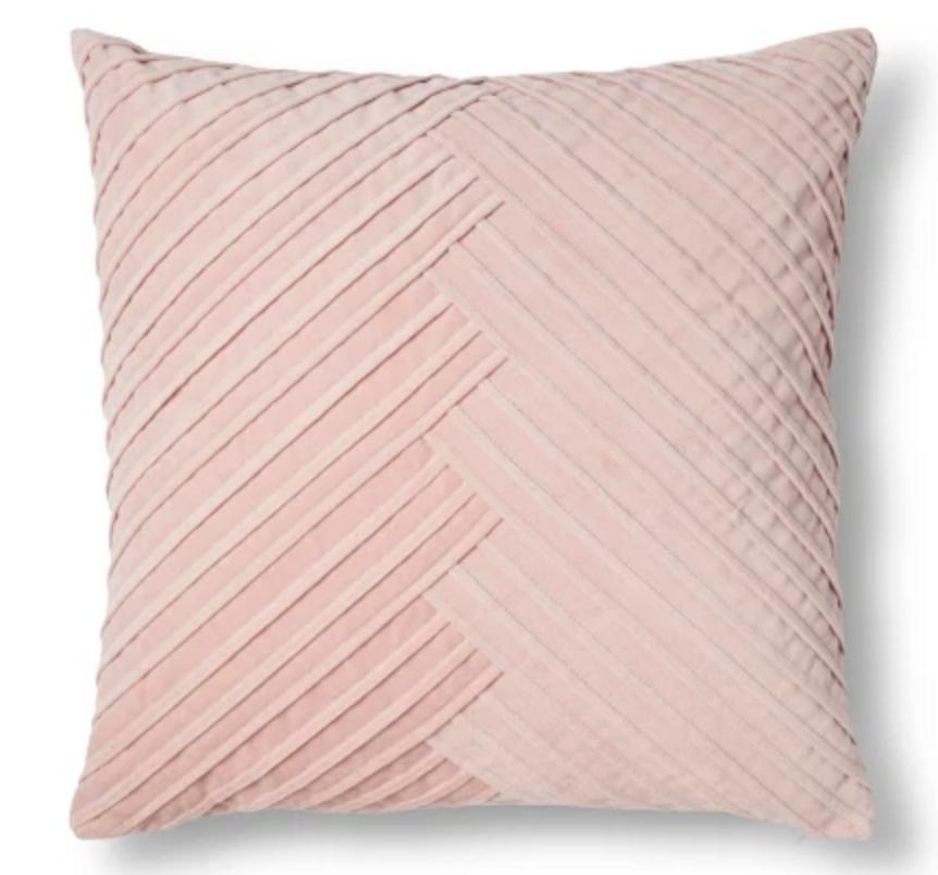 Blush Pleated Velvet Throw Pillow - $19.99