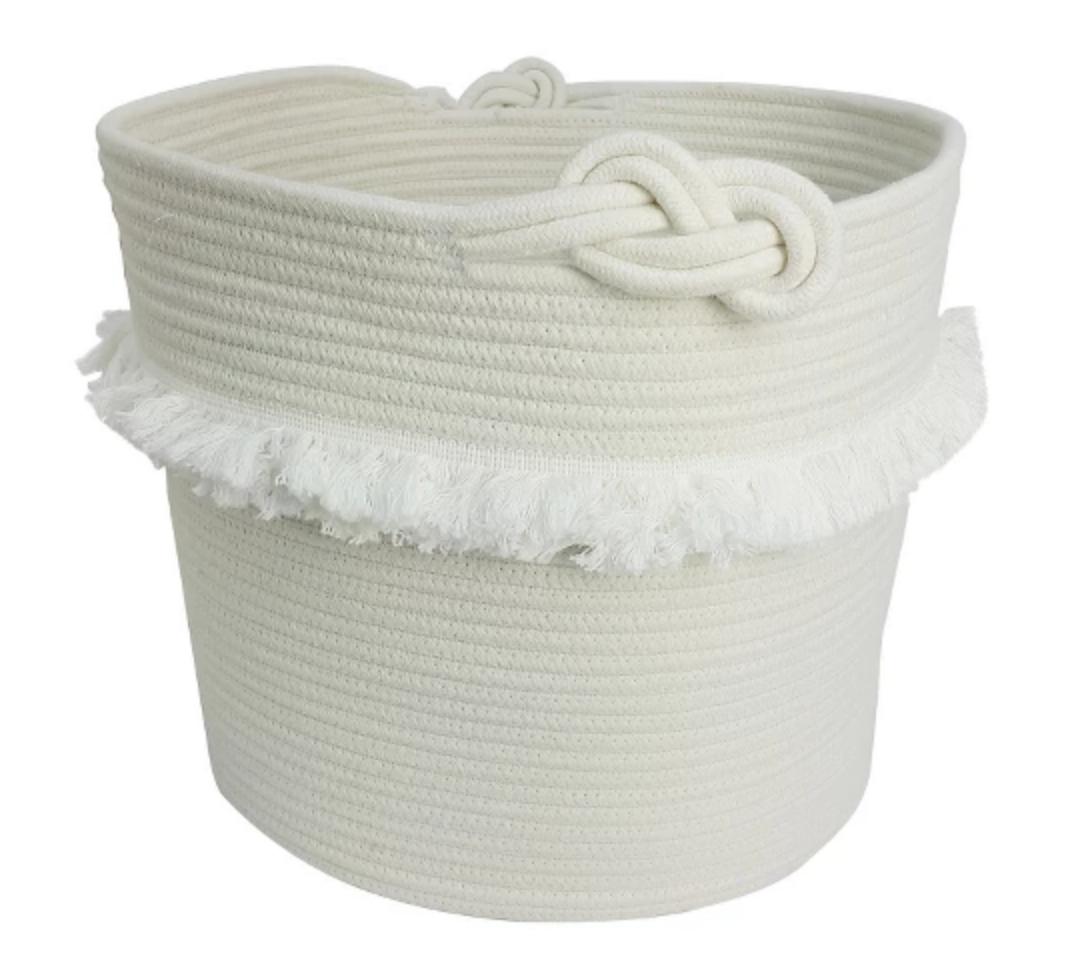 White Rope Basket with Fringe - $19.99