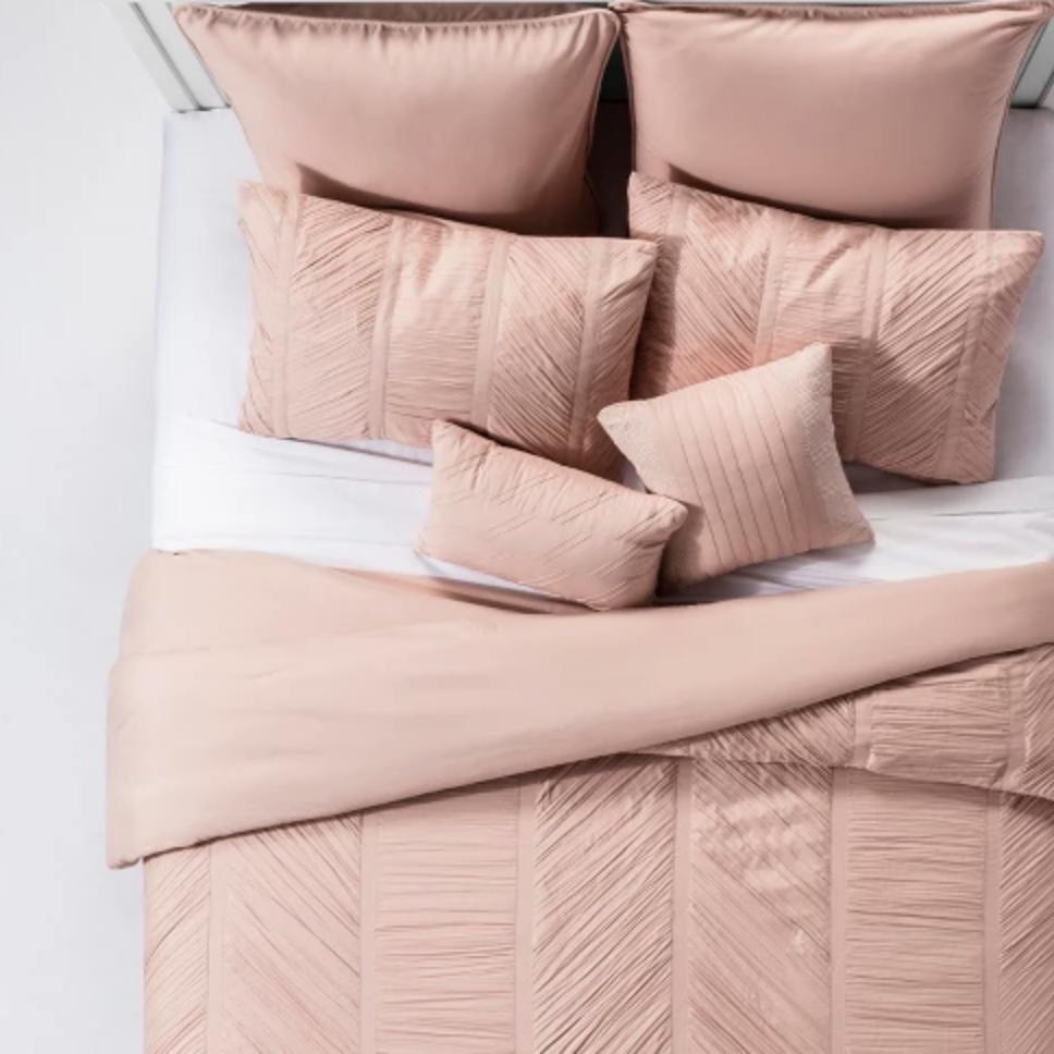 Blush Brielle Ruched Comforter Set - $85.49 for King