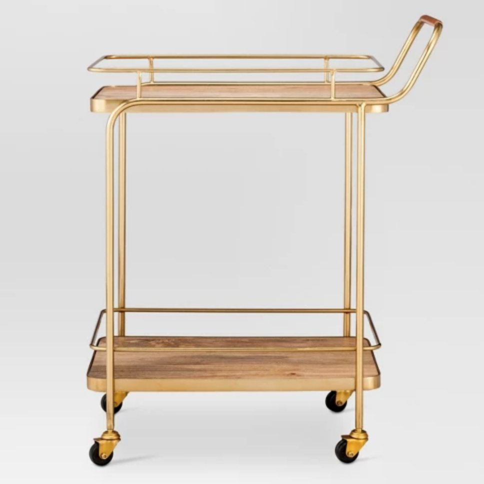 Metal, Wood, and Leather Bar Cart - $119.99