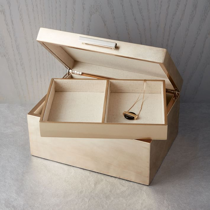 Mid-Century Jewelry Box - Large (Champagne Lacquer) - $79