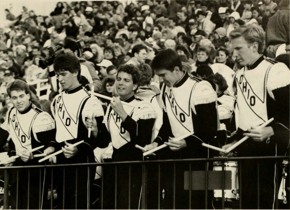 The Marching 110 Drum line performs during the 1991 season at Peden Stadium. (COURTESY OF OHIO UNIVERSITY LIBRARY DIGITAL COLLECTION)