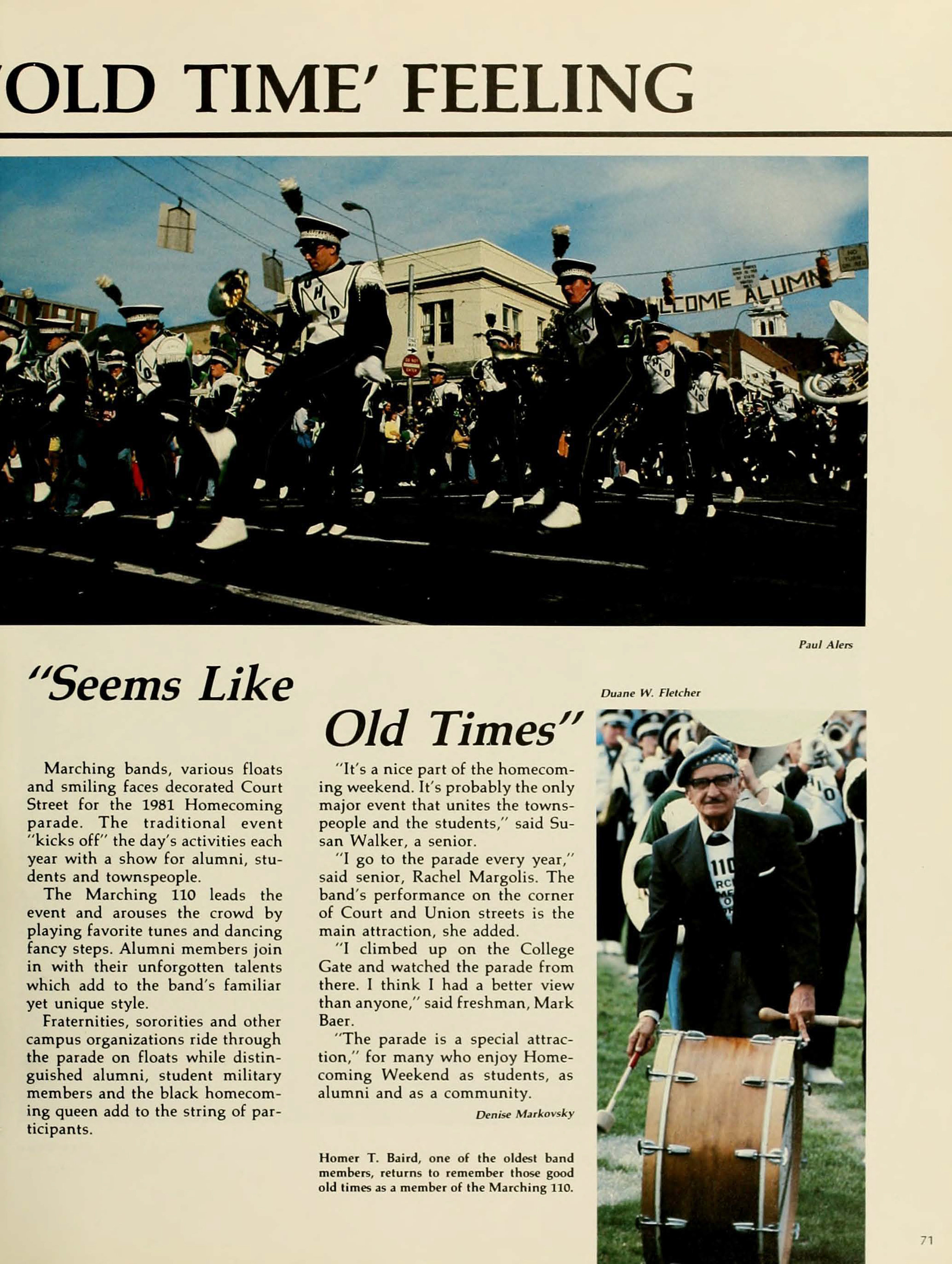 Founder Homer T. Baird is honored at halftime of the 1981 Homecoming football game at Peden Stadium. (COURTESY OF OHIO UNIVERSITY LIBRARY DIGITAL COLLECTION)