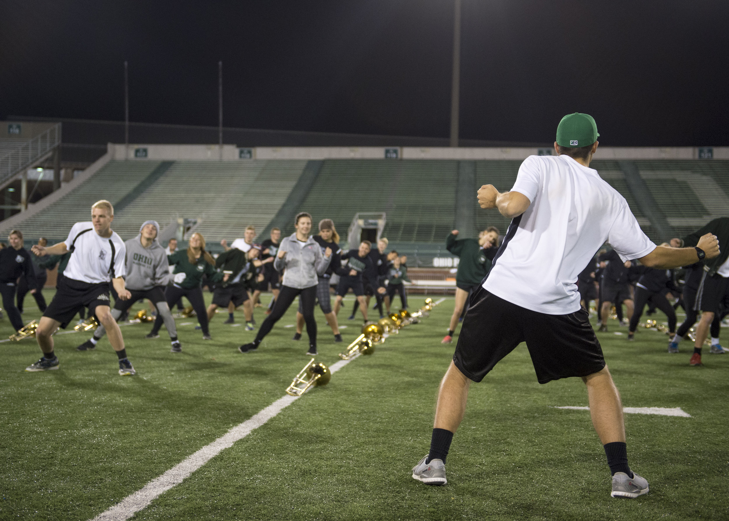"""One week removed from the final game of the season, dance commander Kyle Arnott and the rest of the 110 go through their dance break. The break included moves from the viral dance hit """"Juju on that Beat,"""" but the music performed during the show was a trio of songs by Earth, Wind & Fire."""