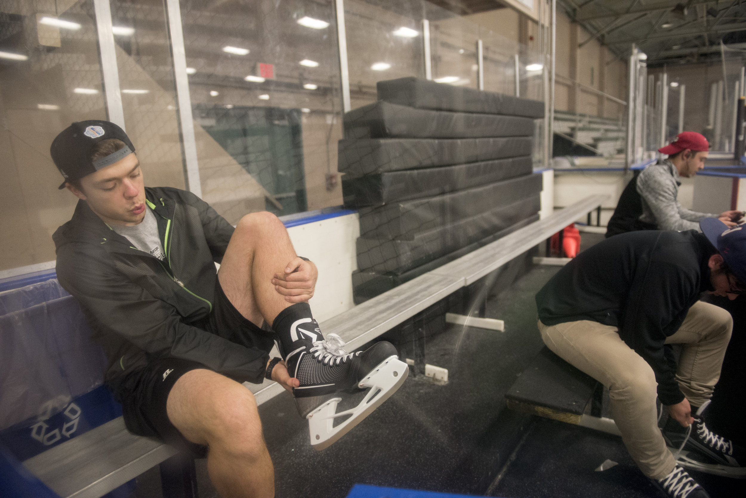 While going to open skate is usually a trombone section activity, drum line member Zach Walton is often invited due to his love of hockey and skating.