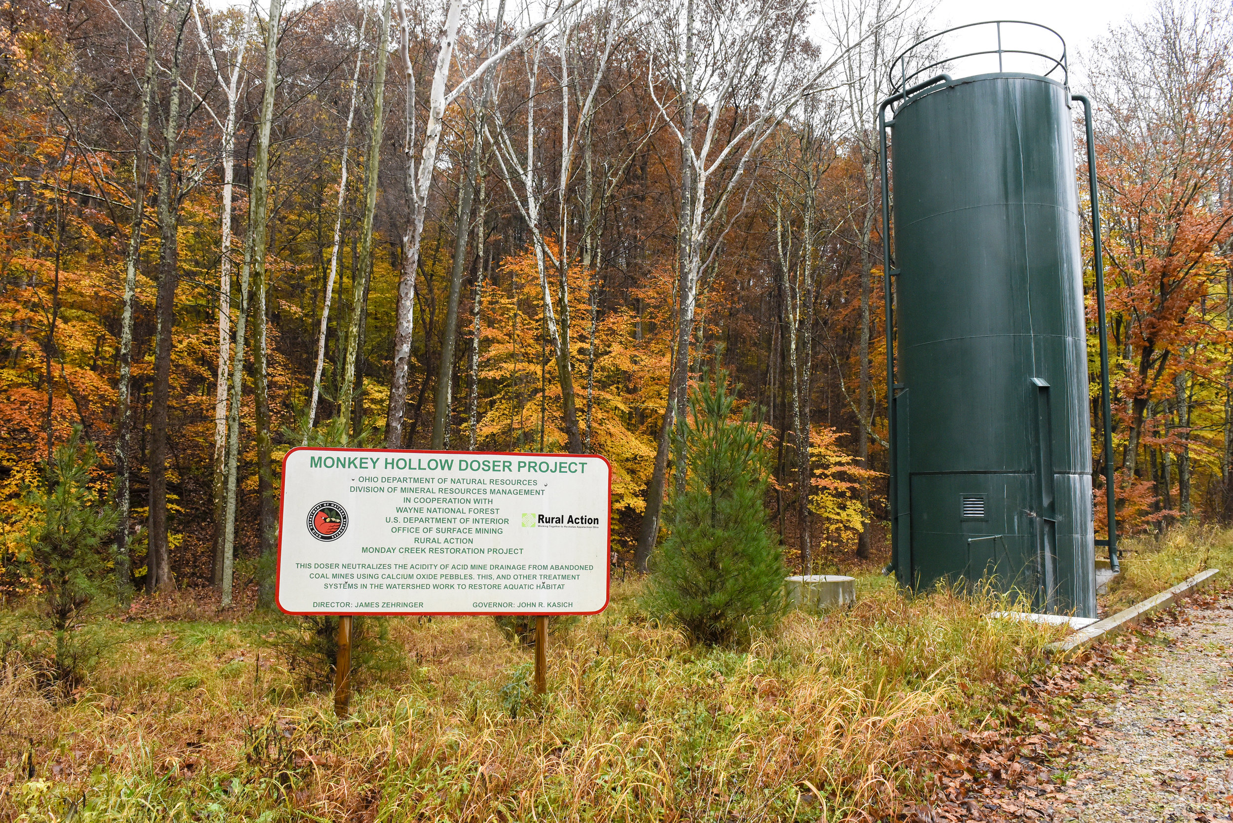 The Monkey Hollow Doser Project, located in Carbon Hill (a census-designated place in central Ward Township, Hocking County) was built in 2014 after the initial doser site was moved here.